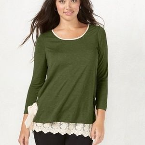 Lauren Conrad | green long blouse w lace trim